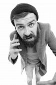 Mobile Call Concept. Important Conversation. Man Bearded Hipster Hold Mobile Phone White Background. poster