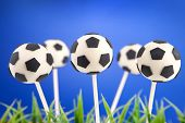 stock photo of cake-ball  - Soccer ball cake pops - JPG