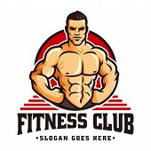 Vector Of Fitness Gym Or Bodybuilder Logo Template, With Muscle Man Character Or Mascot poster
