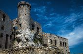 Historic Castle In Ruins. Medieval Fortress In Poland. poster