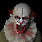 foto of clowns  - Scary clown glaring at you with red eyes.