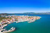 Beautiful Croatian Coast, Murter Island And Town Of Betina From Air, Dalmatia Croatia poster