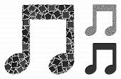 Music Notes Mosaic Of Unequal Items In Various Sizes And Color Hues, Based On Music Notes Icon. Vect poster