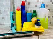 Cleaning Agent For Office. Bottles, Powder For Disinfection. Professional Cleaning, Cleaning. Cloth  poster