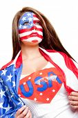 foto of superwoman  - American superwoman with the USA flag painted on her face - JPG