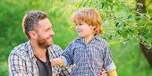 Little Boy And Dad Eat. Everything Is More Fun With Father. Organic Nutrition. Healthy Nutrition Con poster