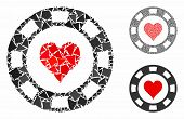 Heart Casino Chip Mosaic Of Uneven Elements In Different Sizes And Color Tones, Based On Heart Casin poster