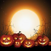 Halloween Background With Pumpkins And Moon. Night Before Halloween. Pumpkin Jack Skeleton Face. Hal poster