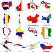 World Flag Map Sketches Collection 03