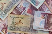 Background Of Different Egyptian Pounds Banknotes. Egyptian Currency poster