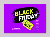 Black Friday Finale Sale Flyer. Retail Tag In Shape Of Paintbrush Stroke. Limited Edition Only This  poster