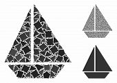 Yacht Mosaic Of Abrupt Pieces In Different Sizes And Color Tints, Based On Yacht Icon. Vector Ragged poster