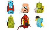 Camping Backpacks. Colorful Vector Illustrated Set. Adventure Sacks For Expedition Concepts poster
