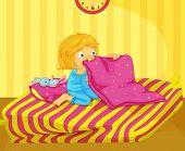 Ilustración de chica recientemente despierto