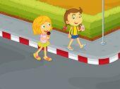 Illustration showing children in danger on the road