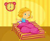 Illustration of cute girl waking