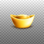 Chinese Gold Ingot In Traditional Shape Realistic Vector Illustration Isolated. poster
