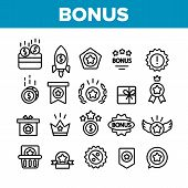 Bonus Loyalty Collection Elements Icons Set Vector Thin Line. Dollar Mark On Rocket, Coins And Credi poster
