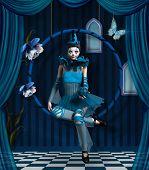 Blue Clown On A Surreal Blue Stage - 3d Illustration poster