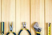 Tools For Master Builder And Accessories On Wooden Background poster