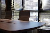 Conference Room In Office. Modern Meeting Room For Business Negotiations And Business Meetings. Boar poster