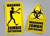 stock photo of biohazard symbol  - Zombie Outbreak Warning Stickers  - JPG
