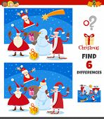 Cartoon Illustration Of Finding Differences Between Pictures Educational Game For Children With Happ poster