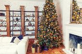 New Year 2020. Merry Christmas Happy Holidays. Classic Christmas Decorated Interior Room New Year Tr poster
