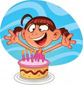 Cute cartoon birthday girl with a cake. Vector illustration with simple gradients. Character and bac