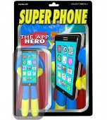 An action figure in a package for Super Phone, the App Hero who is the best smart cellphone availabl