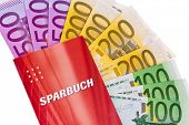 many euro banknotes and savings account