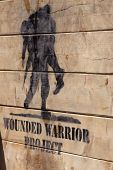POCONO MANOR, PA - APR 29: The Wounded Warrior Project logo painted on Berlin Walls obstacle at Toug