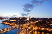 Dom Luis Bridge illuminated at night. Oporto, Portugal western Europe