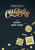 Merry Christmas And Happy New Year Greeting Card Vector Background Template Of Golden Calligraphy Te poster
