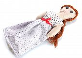 Voodoo doll girl isolated on white