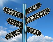Credit Loan Mortgage Signpost Showing Borrowing Finance And Debt