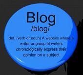 Blog Definition Button Showing Website Blogging Or Blogger