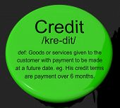 Credit Definition Button Showing Cashless Payment Or Loan