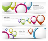 Set of map locator horizontal white banners