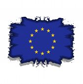 Europe Flag (eu) Stock Icon. Europe Vector Grunge Flag Isolated On White Background. Abstract Flag. poster