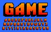 Game Alphabet Font. 3d Pixel Letters And Numbers. 80s Arcade Video Game Typeface. poster
