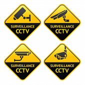 Security camera pictogram, video surveillance, set CCTV symbols