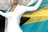 Beautiful Business Woman Is Holding Bahamas Flag In Her Hands Behind Her On The Office Building Back poster