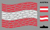Waving Austrian State Flag. Vector Submarine Items Are Combined Into Geometric Austrian Flag Illustr poster