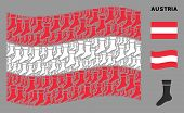 Waving Austria Flag. Vector Sock Icons Are Organized Into Mosaic Austria Flag Composition. Patriotic poster
