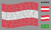 Waving Austria Flag. Vector Emergency Exit Icons Are United Into Conceptual Austria Flag Composition poster