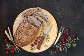 Cranberry & pumpkin seed rye bread. Health food high in fibre, omega 3, vitamins and antioxidants wi poster
