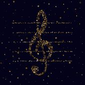 Gold Stars Confetti. Luxury Shiny Little Random Stellar Falling  On Black  Background. Treble Clef O poster