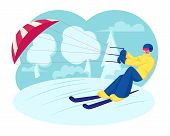 Happy Sportsman Or Sportswoman In Bright Clothes Skiing With Kite On Snow-covered Frozen Surface At  poster