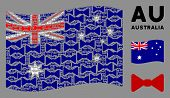Waving Australia Official Flag. Vector Bow Tie Icons Are Combined Into Conceptual Australia Flag Com poster